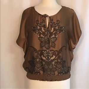 Le Chateau Brown Floral Dolman Sleeve Top